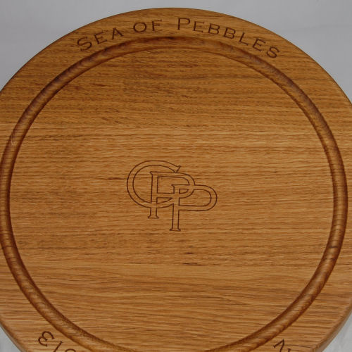 Round bread board, size 30 dia x 4cm, font Copperplate Gothic Light, optional cipher