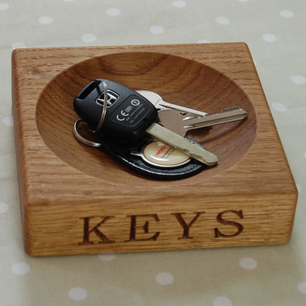 Personalised wooden keys bowl
