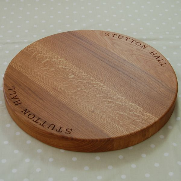Circular cheese board, 42.5 dia x 4cm, font Bookman Old Style