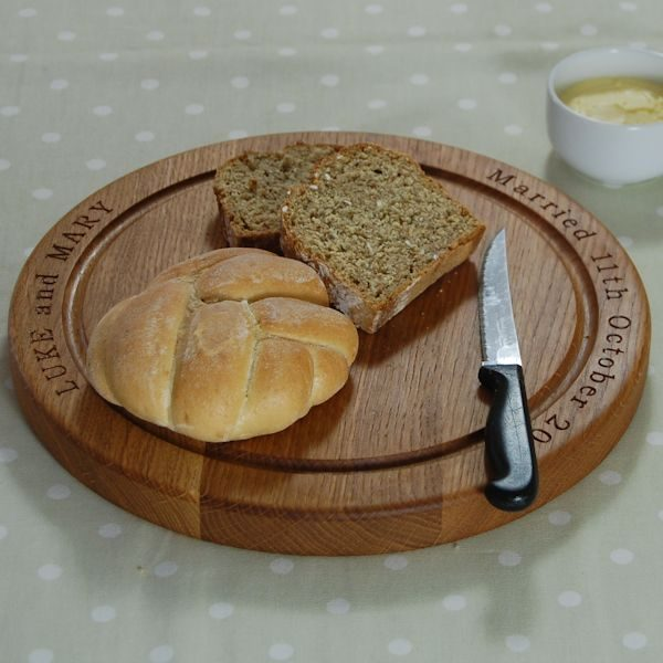 Personalised round bread board, 30 dia x 2.7cm, font Bookman Old Style