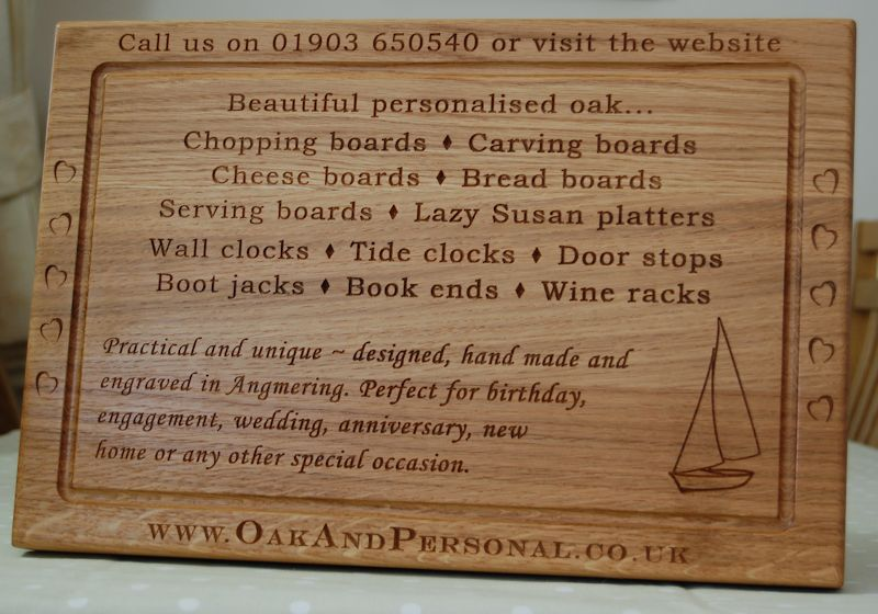 Promotional display wooden chopping board