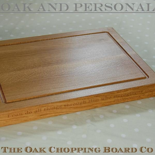 Personalised wooden chopping board with two lines of engraved text, size 30x40x4cm, font Bookman Old Style
