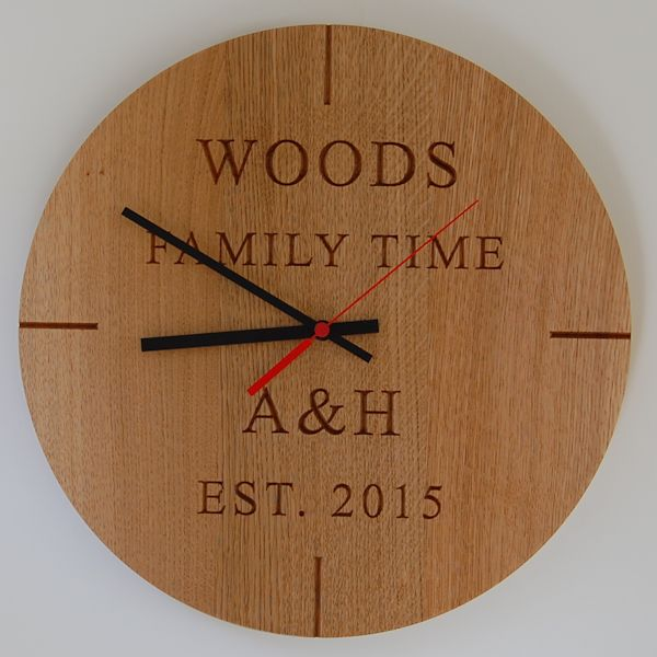 Personalised engraved wooden wall clock