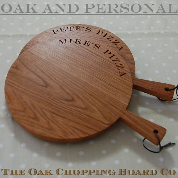 Personalised wooden paddle serving boards, font Engravers MT
