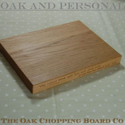 Personalised wooden chopping board with 2 lines of text, size 30x40x4cm, font Byington