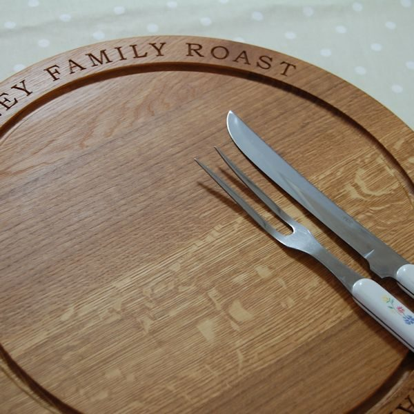 Solid oak personalised round carving boards, font Book Antiqua