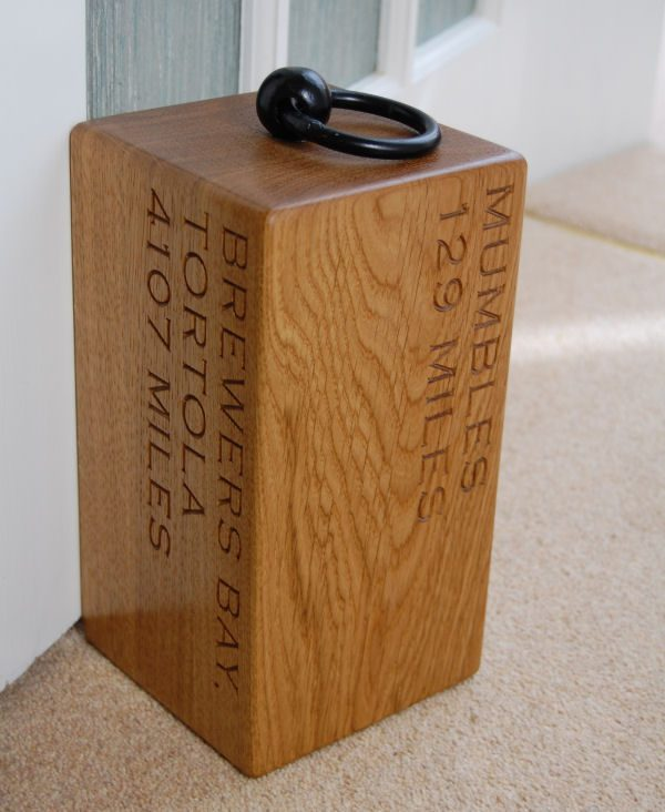 Personalised engraved oak door stop Navigator, font Copperplate Gothic Light
