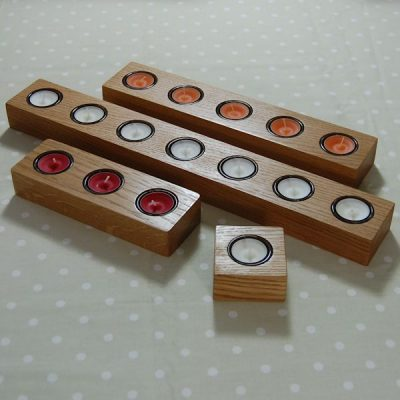 Our range of personalised wooden tea light candle holders