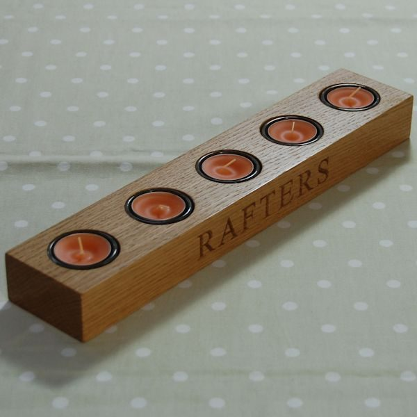 Personalised wooden tea light holder, font Times New Roman