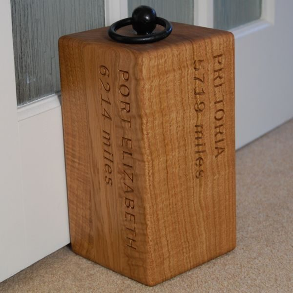 Personalised engraved oak door stop Navigator, font Franklin Gothic Book