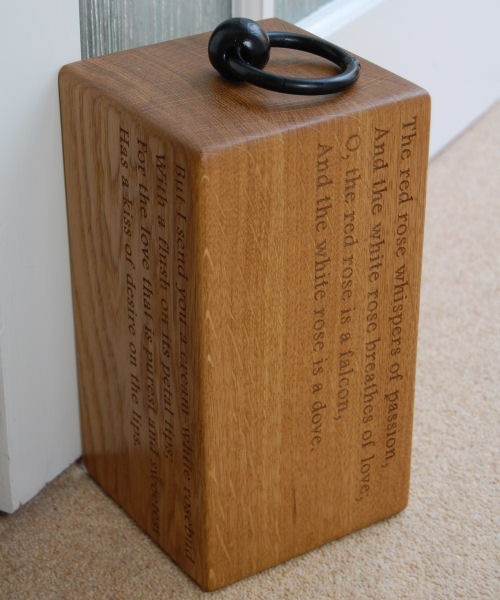 Personalised engraved wooden door stop, font Footlight MT Light custom engraving