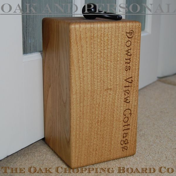 Personalised wooden door stop, font Harrington