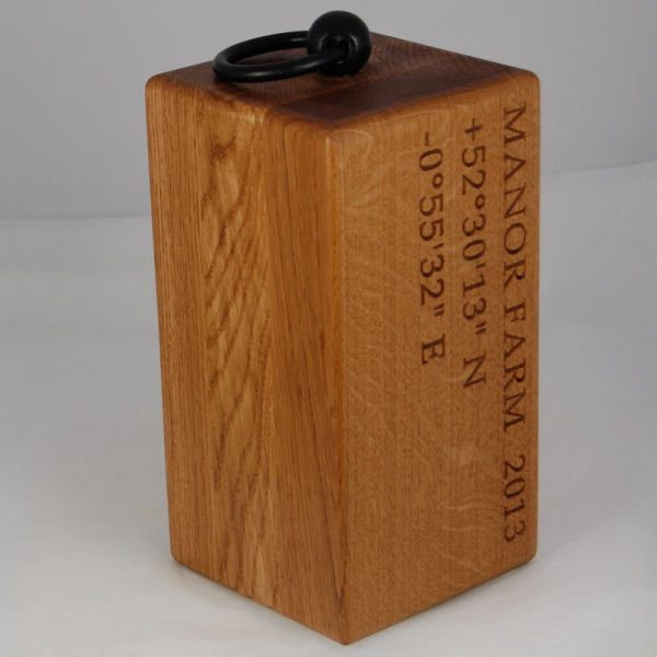 Personalised oak door stop Navigator, font Book Aniqua