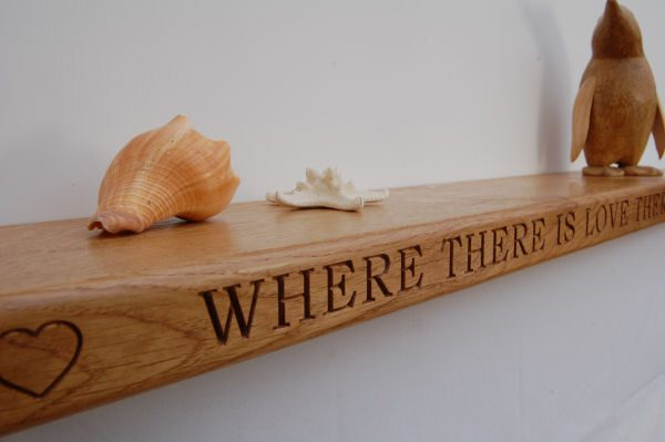 Personalised engraved solid oak floating shelf, font Bookman Old Style
