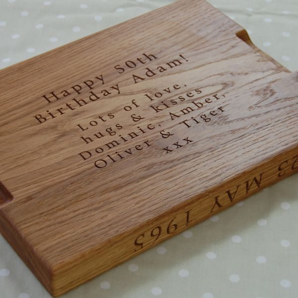 Personalised wooden carving board with special hidden message underneath