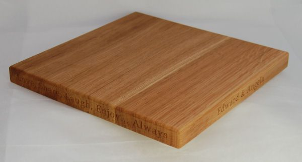 Personalised wooden square cheese board, size 30x30x2.7cm, font Book Antiqua