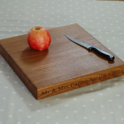 Personalised square chopping boards, size 30x30x4cm, font Book Antiqua