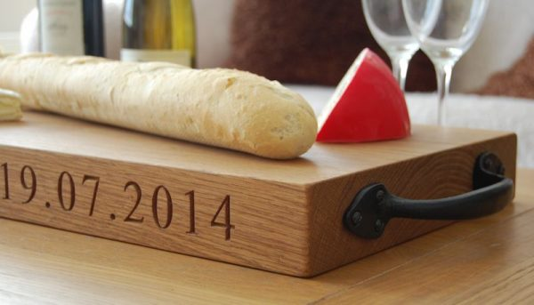 Personalised rustic wooden serving boards, font Times New Roman