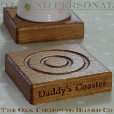 Personalised engraved oak coaster, font Byington