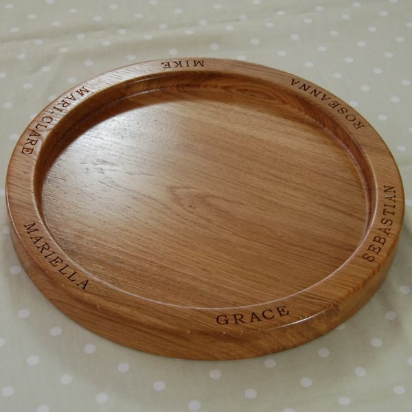 Personalised wooden fruit bowl, size 38cm, font Bookman Old Style