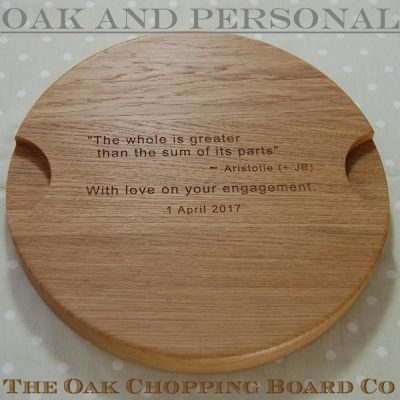 "Round ""Signature"" personalised cheese board with hidden message"