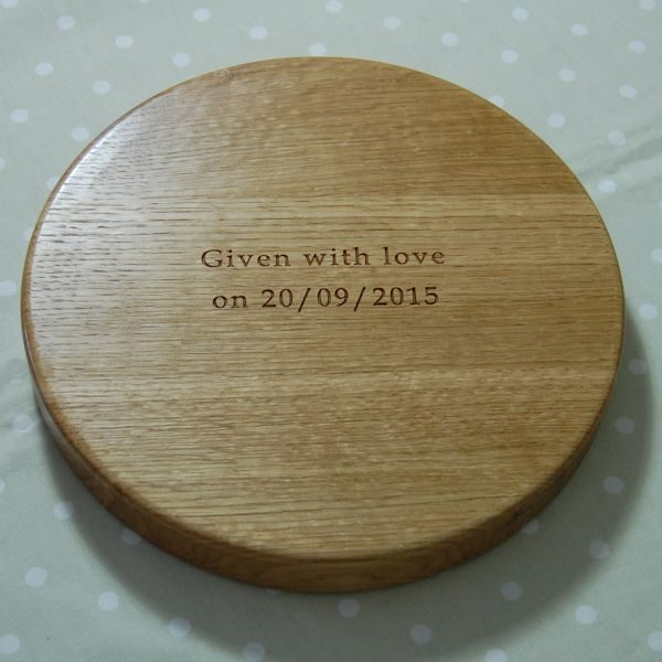 Personalised wooden fruit bowl with special hidden message underneath