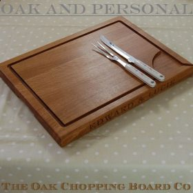 Extra large personalised wooden carving boards with pouring spout, size 38x50x4cm, font Bookman Old Style