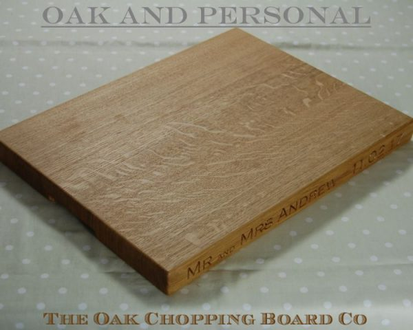Extra large personalised wooden cheese board, font Copperplate Gothic Light