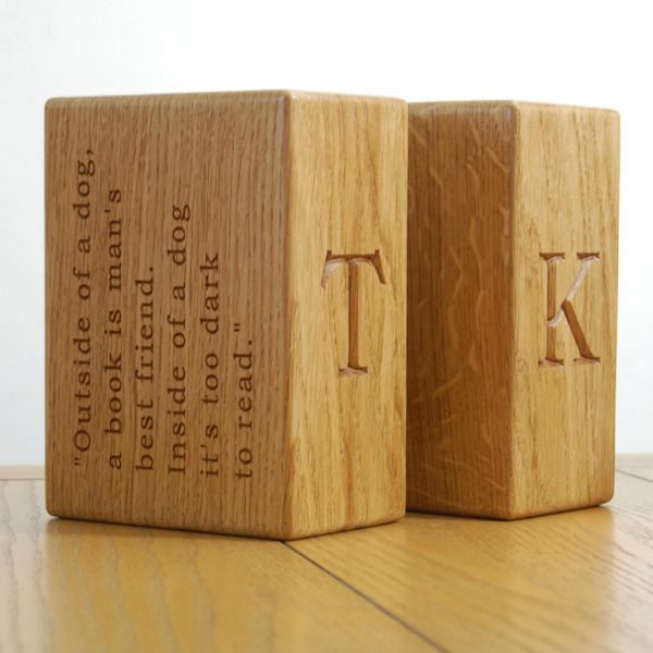 Solid oak bookends - personalised in font Bookman Old Style