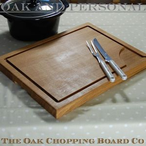 Large personalised wooden carving board with pouring spout, size 38x50x4cm
