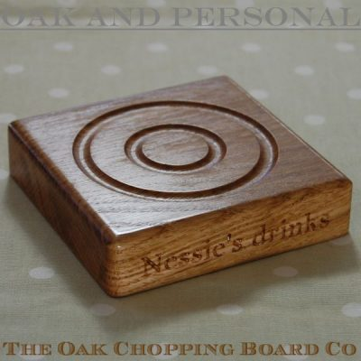 Personalised wooden coaster, font Bell MT