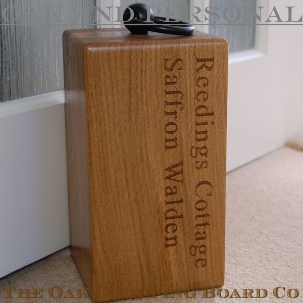 Personalised engraved wooden door stop, font Times New Roman