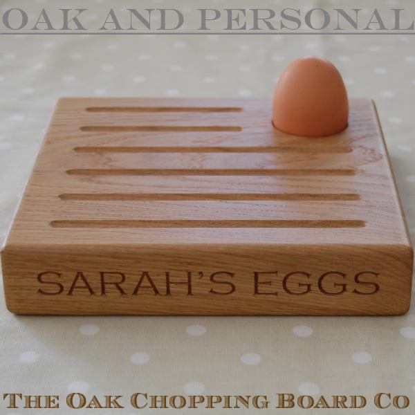 Egg and toast serving board, font Copperplate Gothic