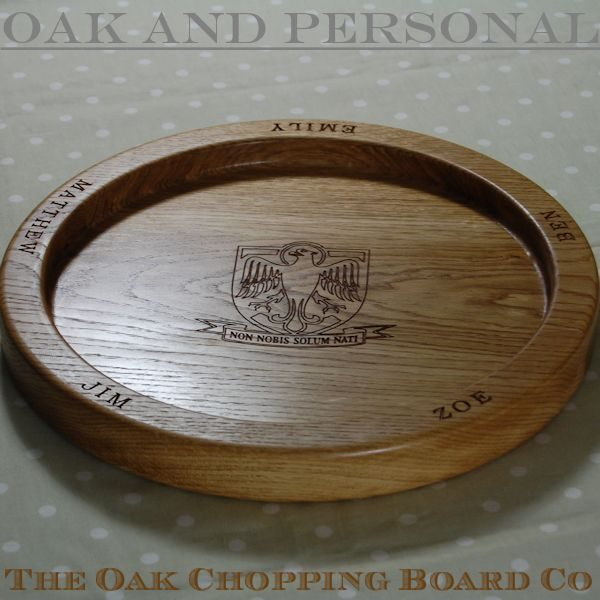 Personalised wooden fruit bowl, size 38cm diameter, font Bookman Old Style, with 2D coat of arms