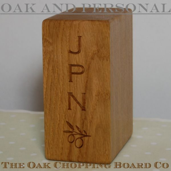 Personalised oak bookend, font Copperplate Gothic