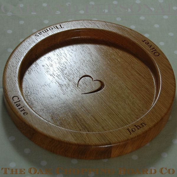 Hand crafted, engraved oak fruit bowl, size 30cm diameter, font Book Antiqua