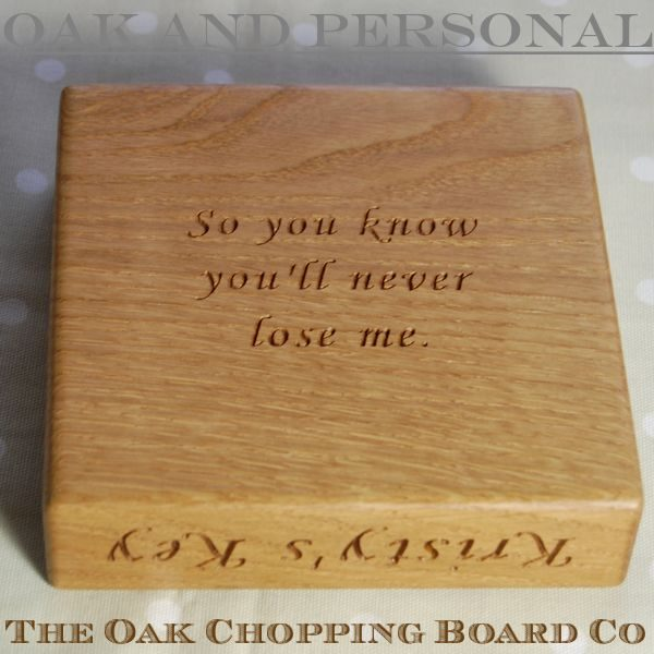 Personalised oak key bowl with engraved message underneath, font Art Script