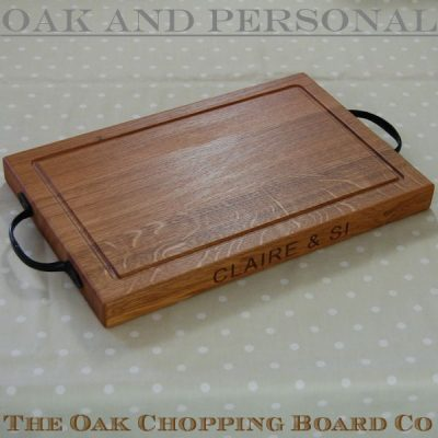 Personalised rustic wooden chopping boards, size 30x45x4cm, font Arial