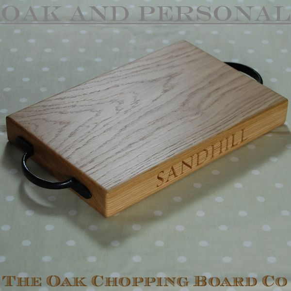 Personalised rustic wooden cheese board, size 20x30x4cm, font Byington