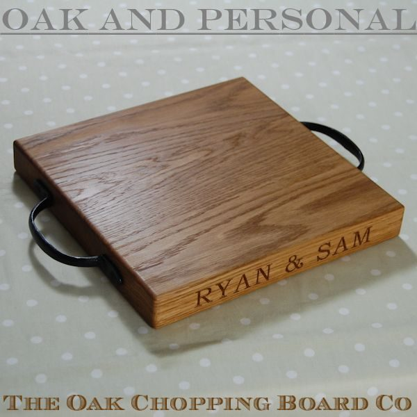 Personalised rustic wooden cheese board, size 30x30x4cm, font Bookman Old Style