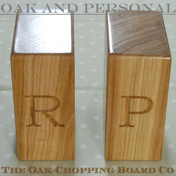 Personalised wooden bookends, font Bookman Old Style