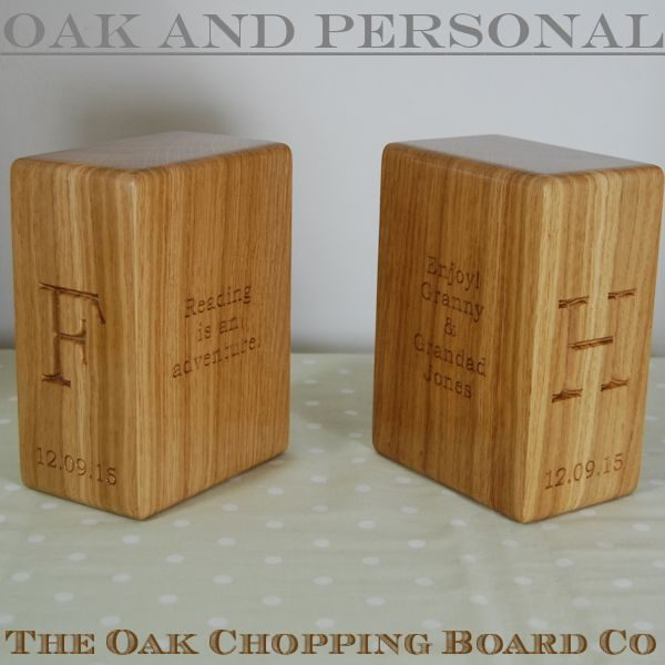 Personalised oak bookends, font Bookman Old Style