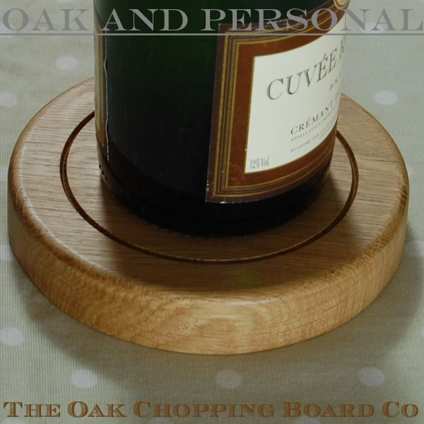 Personalised wooden bottle coaster