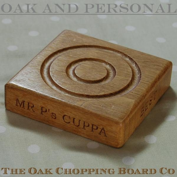 Personalised wooden coaster, font Bookman Old Style