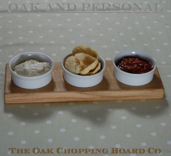 Personalised engraved oak dips bowls