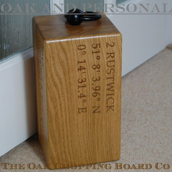 Personalised engraved oak door stop Navigator, font Book Antiqua