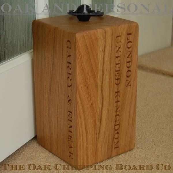Engraved wooden door stop, font Engravers MT