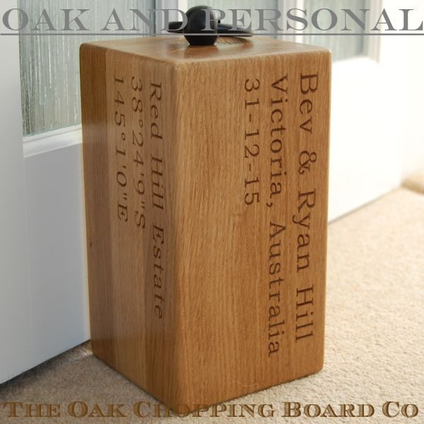 Personalised engraved oak door stop Navigator, font Bookman Old Style
