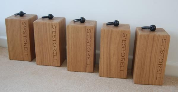 Personalised oak door stops, font Copperplate Gothic Light