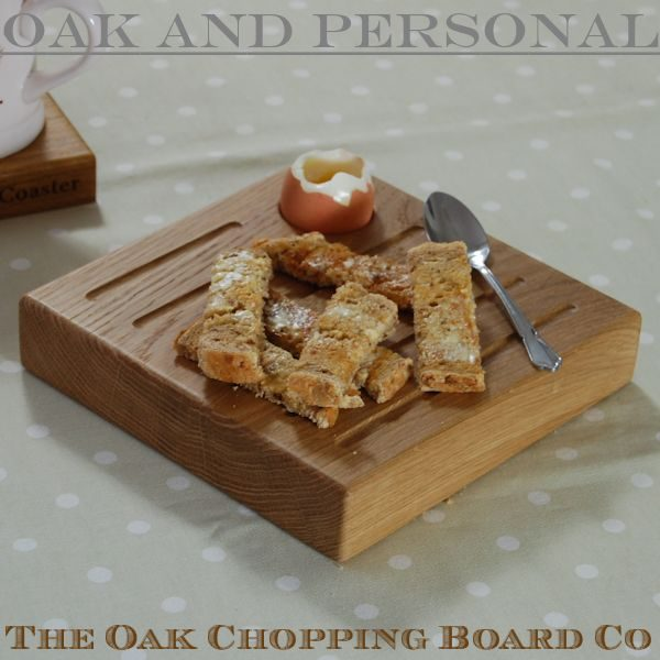 Personalised chunky wooden egg and toast board with recessed egg cup